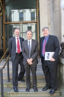 AEngD delegation to BIS (L-R: Tony O'Brien, William Powrie and Patrick Godfrey, setting off from Institution of Civil Engineers), 8 April 2014.