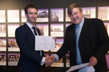 Rob Hughes accepts finalist certificate