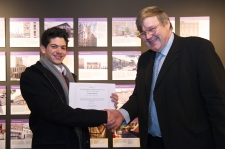 Christos Ellinas accepts finalist certificate